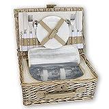 KJ Picknick-Korb, sand, Weide, Edelstahl und Porzellan, mit Kühlfach, ca. 36 x 28 cm | KJ-161010 | 5708760604593