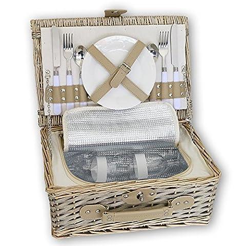 KJ Picknick-Korb, sand, Weide, Edelstahl und Porzellan, mit Kühlfach, ca. 36 x 28 cm | KJ-161010 | (Porzellan Stoff)