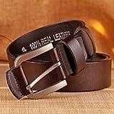 Cinture di Mezza età della Gioventù, Casual Fashion Pure Leather Cinturino con Fibbia in Lega retrò, Marrone, Nero, Giallo,Brown