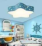 Stylehome Kinderzimmer LED Deckenlampe Kinderlampe 36W Blau voll dimmbar mit Fernbedienung 6920