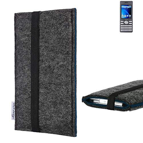 flat.design Handyhülle Lagoa für Kazam Life B6   Farbe: anthrazit/blau   Smartphone-Tasche aus Filz   Handy Schutzhülle  Handytasche Made in Germany