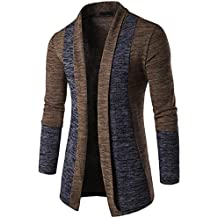 Alluing Two-Tone Minimalist Style Sweater Cardigan Knit Coat Jacket Sweatshirt for Men's Autumn Winter