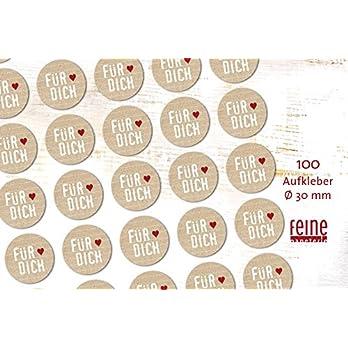 Aufkleber Geschenkaufkleber FÜR DICH 100 Stück Ø 3 cm in Kraftpapieroptik retro handmade-Design