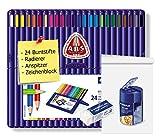 Staedtler 157 SB24 ergo soft Farbstift, 3 mm, aufstellbare Staedtler Box mit 24 Farben (1, Stifte + Block + Anspitzer + Radierer)