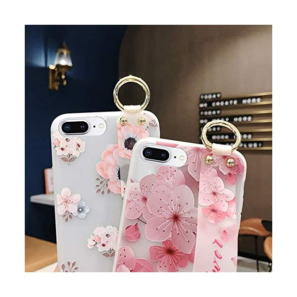 Uposao Compatible with iPhone 8 Plus/iPhone 7 Plus 5.5 Case with Hand Strap, Cute Pink Flowers Pattern Design Soft Silicone TPU Gel Flexible Cover with Wrist Strap Wristband Kickstand,Flower #7 Uposao Compatible Model: iPhone 8 Plus / iPhone 7 Plus 5.5 Package:1 x Bumper Case Cover,1 x Black Stylus Touch Pen Kickstand Feature: Comes with slidable elastic strap for your ring finger or wrist for comfortable grip and a built-in kickstand for optimum hands-free viewing. 4