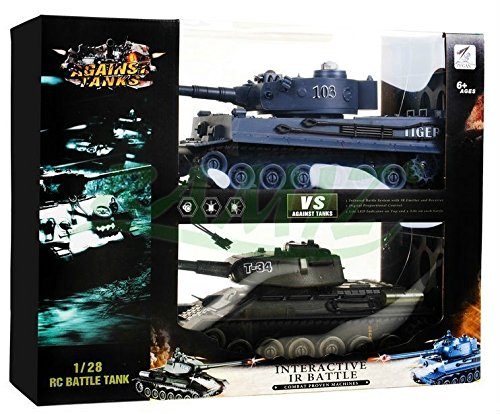 Infrared Battle Tank Set Tiger vs T-34 - 2 Stück im Set - Ferngesteuerte Panzer mit Ton und Licht - Panzer Set - Panzer Tank Militär-Fahrzeug Modell 1:28