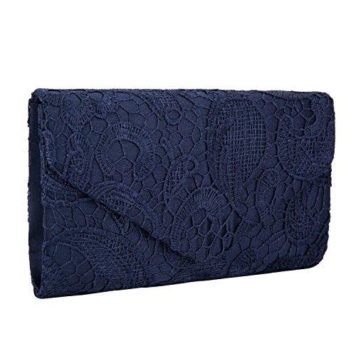 Lifewish Frauen eleganter Blumenspitze-Umschlag-Kupplungs-Abend-Abschlussball-Handtaschen-Geldbeutel (Marineblau) -