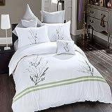 Bella Bed Sheet(White, Green,228.6Cm*254...