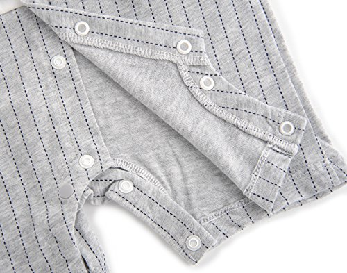 Fairy Baby Baby Outfits Jungen Smoking Anzug Kurze Abendkleider Festliche babymode Kleidung mit Fliege Strampler, Grauer Streifen, 12-18 Monate - 4