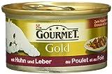 Gourmet Gold Katzenfutter Zarte Häppchen in Sauce mit Huhn und Leber, (12 x 85 g)
