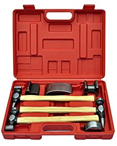 Coffret outil de marteau et tas pour carrossier, 7 pièces