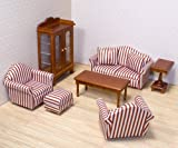 Enlarge toy image: Melissa & Doug Classic Victorian Wooden and Upholstered Dolls House Living Room Furniture (9 pcs) - infant and baby development