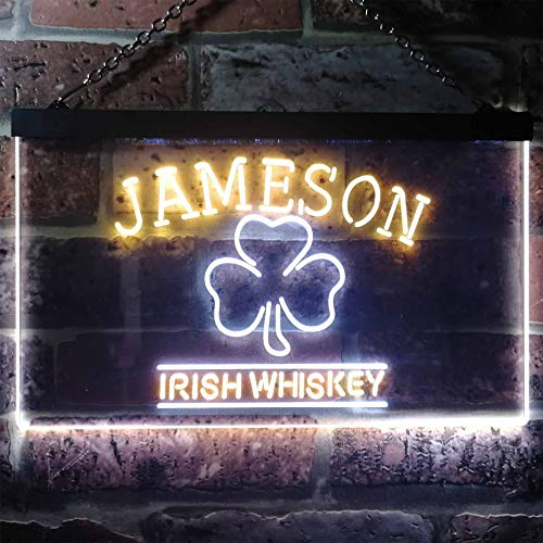 zusme Jameson Irish Whiskey Shamrock Novelty LED Neon Sign White + Yellow W30cm x H20cm