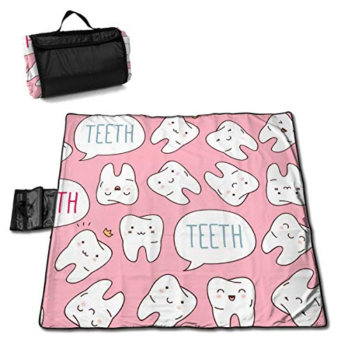 Colorful Cute Teeth Pattern Portable Large Picnic Blanket 57
