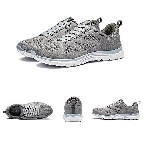 Weien Shop Uomo Sneakers Running Sportive Scarpe da Ginnastica Casual Fitness Nero Blu Grigio Rosso 39-44 Grigio