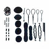 10tlg. Frisuren-Set - Haar-Styling-Helfer - Haargummis Clip-Pads Dutt-Kissen uvm. - Styling Werkzeug Kit - Set enthält insgesamt mehr als 60 Artikel