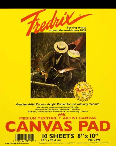 Fredrix Pad (Fredrix 3495 Leinwandblock, 20,3 x 25,4 cm, grundiert und bemalbar, stabil, trocken montierbar, Weiß, 10 Blatt pro Block)