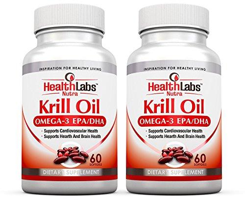 Health Labs Nutra Omega 3 Aceite de Krill 1000mg por porción (2 cápsulas blandas) Suministro de La mayor concentración de Omega-3