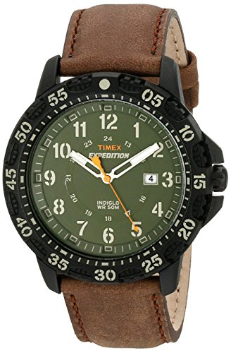 d5691bd5969d Timex T49996 Men s Expedition Indiglo Green Dial Brown Leather Strap Watch
