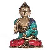 CraftVatika Abhaya Estatua de Buda Nepal Turquesa bendición latón Buda Idol India Decoración Arte