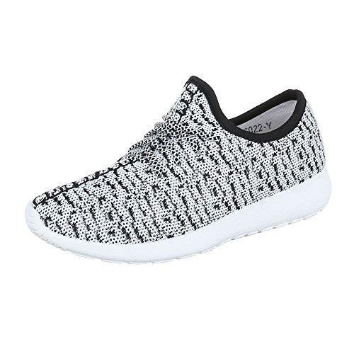 Ital-Design Sportschuhe Damenschuhe Geschlossen Sneakers Schnürsenkel Freizeitschuhe Weiß Schwarz