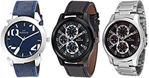 Marco 221 Blue 521 Red Men's Analogue Watch (Set of 3)