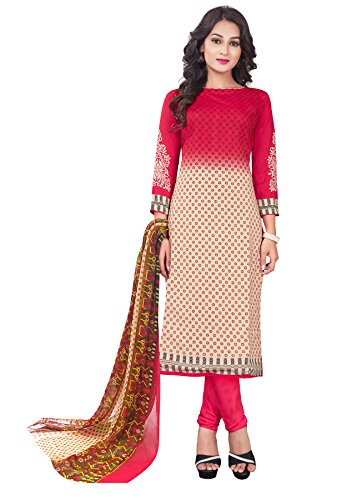 Salwar Studio Women's Pink & Beige Synthetic Floral Printed Dress Material with Dupatta  available at amazon for Rs.495