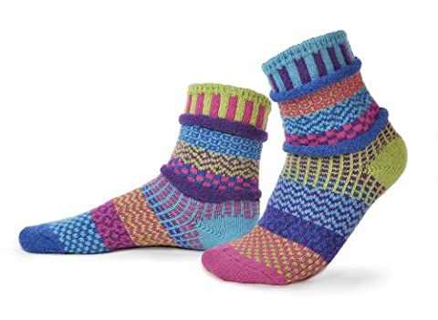 Solmate Socks - Odd or Mismatched Crew Socks for Women or for Men, Made with Recycled Cotton Yarns in USA, Bluebell Medium