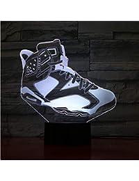 4cc7a46a574c7 Busjk Veilleuse 3D Chaussures De Basket Hommes Nuit Lumière Led Illusion  Décor Garçons Enfants Bébé Cadeaux