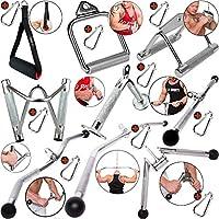 C.P.Sports Barra de tríceps con una Sola Mano, Mango Paralelo, Barra de tríceps, Barra de polea, 1 mosquetón para Culturismo, Crossfit, Entrenamiento de Fuerza, Gimnasio (Forma de V)