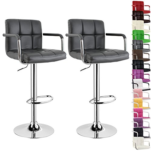 WOLTU BH16 Serie Design Barhocker mit Armlehne , 2er Set , stufenlose Höhenverstellung , verchromter Stahl , Antirutschgummi , pflegeleichter Kunstleder , gut gepolsterte Sitzfläche (Grau)