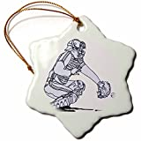3dRose orn_44802_1 Baseball Catcher in Blue Snowflake Decorative Hanging Ornament, Porcelain, 3-Inch
