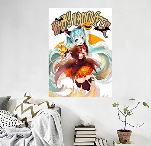 3D Halloween - Mädchen 266 Japan Anime Wandaufkleber Vinyl Wandbilder Druck Kunst   Selbstklebend Große Wandaufkleber AJ DE Sunday (Vinyl (Kein Kleber & abnehmbar), 【19.7