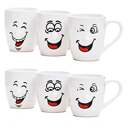 Witzge Kaffee-Tassen im 6er Set aus Keramik. Weiße Kaffee-Becher a 300ml mit lustigen Gesichtern - Das Highlight auf jedem Tisch.