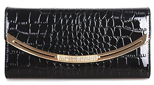 Greeniris Mode Damen Echtleder Brieftasche Kreditkarte Halter Drachen Brieftasche damen leder Geldbörse schwarz (Von Hand Gepflückt)