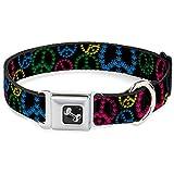 Buckle Down 22,9–38,1cm Marihuana Peace schwarz/Multi Hunde-Halsband mit Knochen, klein