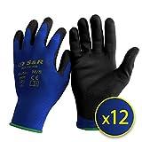 S&R Arbeitshandschuhe 12 Paar BASIC Nylonfaser mit PU-Beschichtung, Schutzhandschuhe geeignet für den privaten und gewerblichen Gebrauch (M/8)