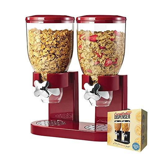 mikamax - Müslispender - Cornflakes Dispenser - Rot - Cornflakes Spender - Müslibehälter - Mit 2 Behältern - 500 Gramm - Frühstückszubehör