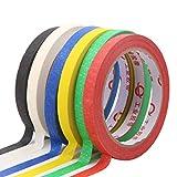 coloré ruban de masquage, 6pcs multi-usage de masquage Tapesticky papier 30m Multicolore variété kit ruban adhésif de masquage DIY Craft décoratifs