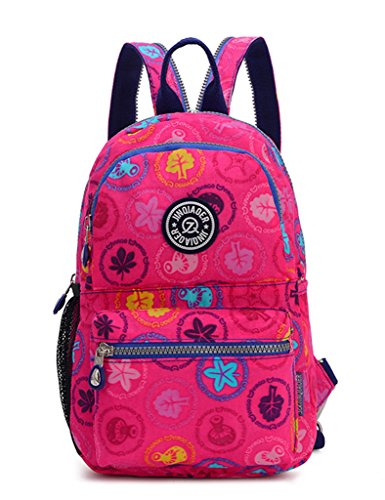 TianHengYi Girls Small Water Resistant Nylon Backpack light Sling Chest Bag Rose Pink Floral