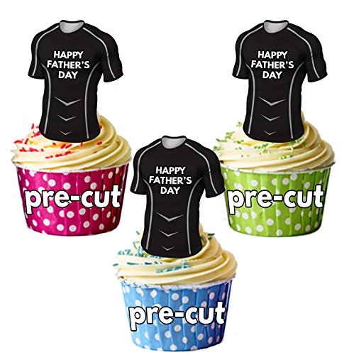 AK Giftshop vorgeschnittenen Happy Fathers Day Rugby Shirts-Essbare Cupcake Topper/Kuchen Dekorationen Glasgow Warriors Farben (12Stück)