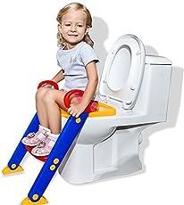 Techsun Mart Unisex Plastic Portable Adjustable Potty Training Seat with Ladder (Multicolour)