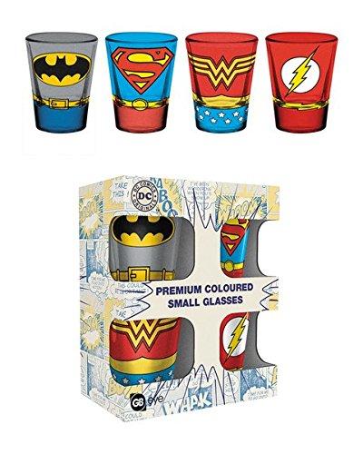 DC Comics – Justice League Kostüme – 4-teiliges Schnapsglas/Shooters Set (Batman, Superman, Wonder Woman, ()