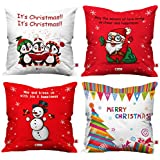 Indigifts Christmas Cushion Covers Holiday Fun With Cute Christmas Characters Multi Set Of 4 Cushion Cover 16x16 Inches - Christmas Cushion, Christmas Decorations For House, Xmas Decorations