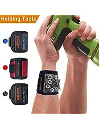 Bracelet magnétique pour bricoleur,5 aimants puissants pour maintenir vos outils,vis,clous, ciseaux,embouts,et bien plus - Un cadeau unique et pratique pour homme,femme,père, mari, petit ami,etc