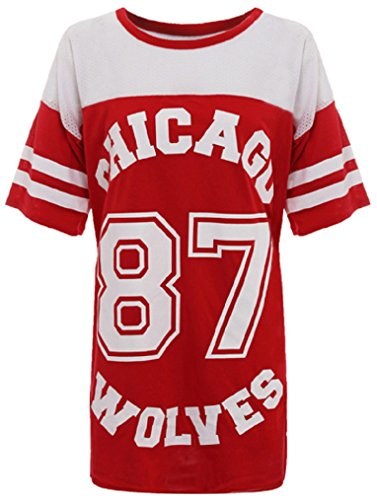 Crazy Girls Womens American Baseball Chicago 87 Wolves Baggy T-Shirt Top 8-14 (S/M-UK8/10, Red)