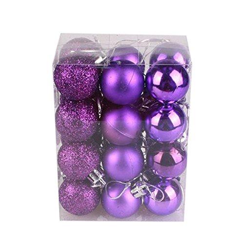 (fanxing Home Living 30mm Weihnachten Xmas Tree Ball Kugel Aufhängen Home Party Ornament Dekoration violett)