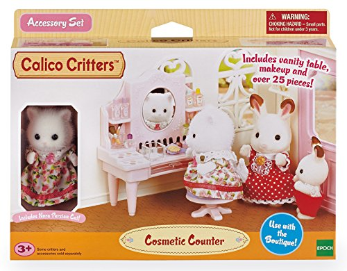 Sylvanian- Cosmetic Counter Families Table De Maquillage Et Figurine, 5235, Multicolore