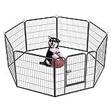 Yaheetech Recinto per Cani Cuccioli Conigli Gatti Animali da Interno e Esterno Giardino Rete Recinzione Ferro 8 pz 80 x 80 cm