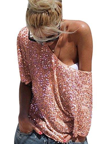 Minetom Mujeres Sin Tirantes Batwing Camisetas Lentejuelas Brillantes T Shirt Blusas Camisas Tops Gold ES 38